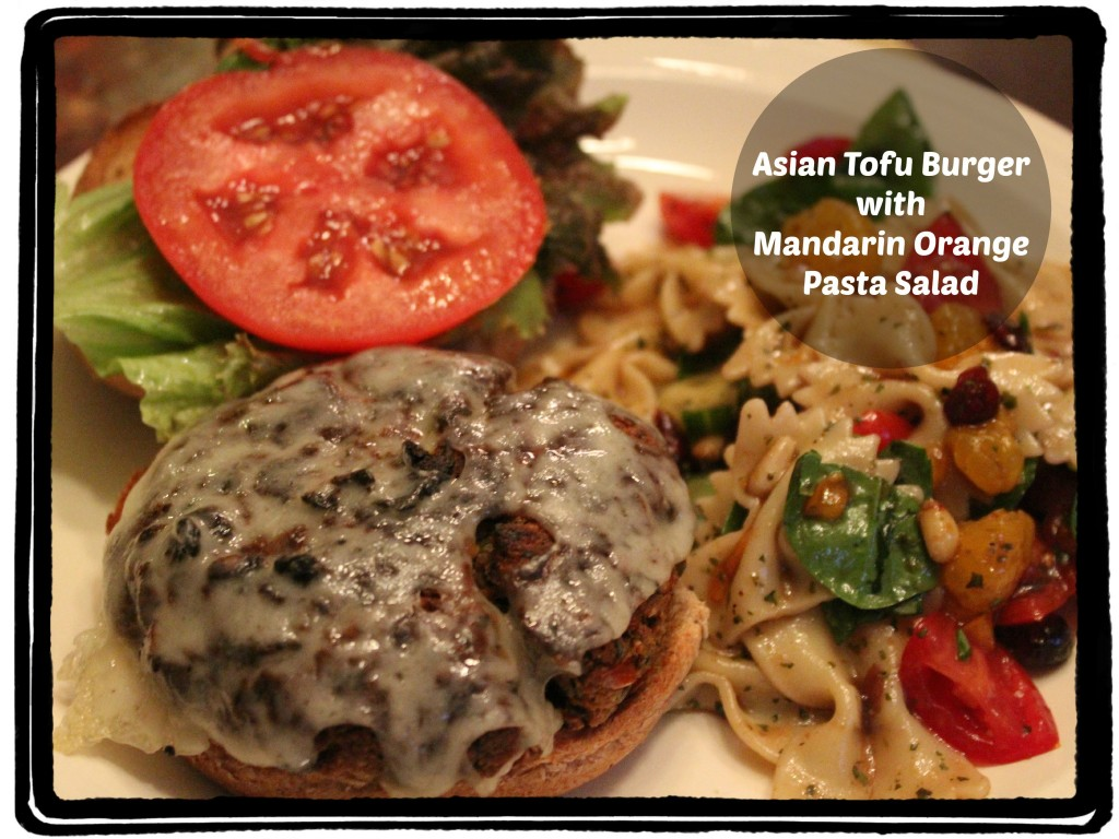 asian tofu burger-and-pasta